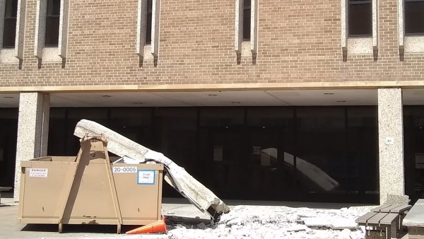 A concrete slab fell from Van Hise's third floor deck.