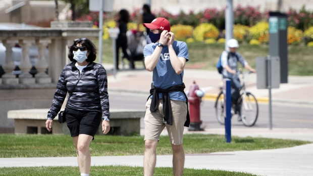 People wearing mask because of the pandemic