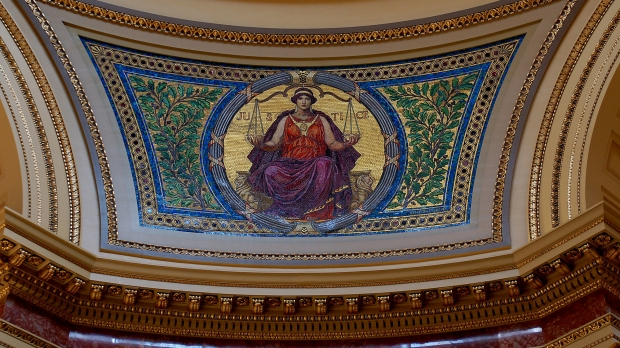 Justice mosaic in the Wisconsin State Capitol Rotunda