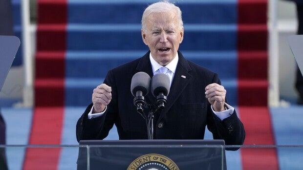 President Joe Biden speaks during the 59th Presidential Inauguration