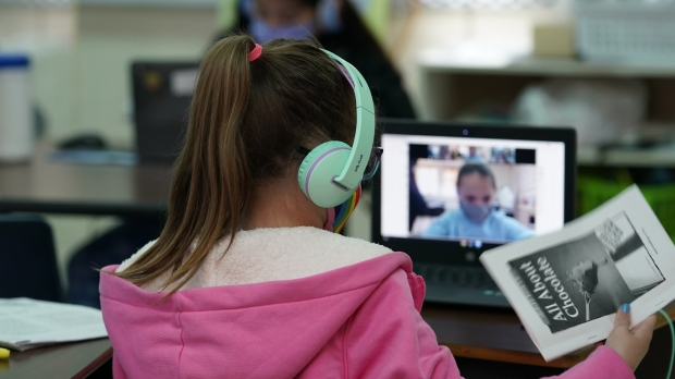 Student in a remote-learning classroom