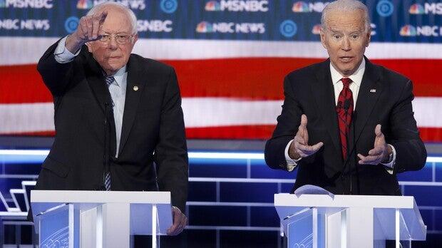 Bernie Sanders and Joe Biden on a debate state