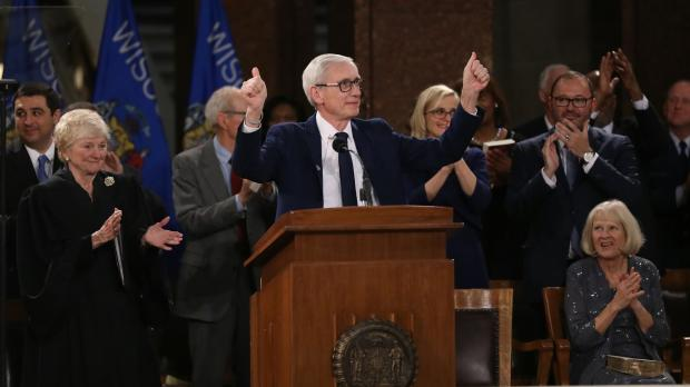 Democratic Gov. Tony Evers speaks after being sworn in