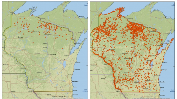 Bald Eagle Nests in Wisconsin, 1974 & 2019