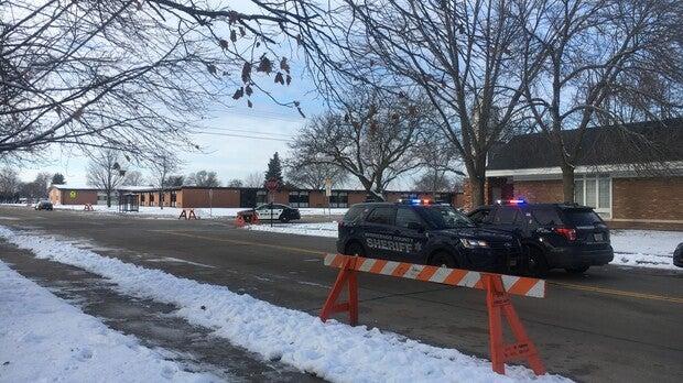 Police outside of Oshkosh West High School