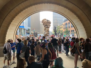 People gathered outside Milwaukee City Hall