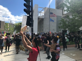 Protesters Stop Outside Milwaukee Police Administration Building