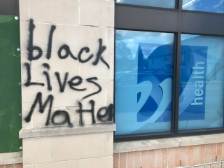 """Black Lives Matter"" painted on a Walgreens"