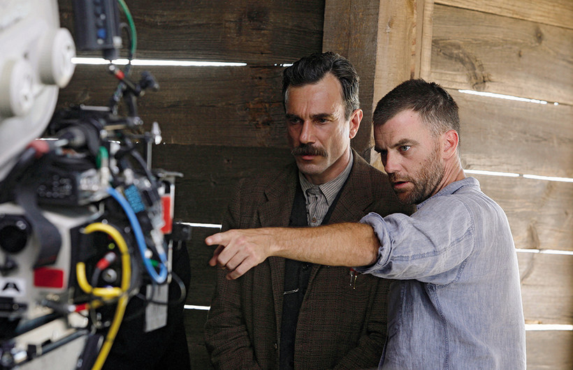 Filmmaker Paul Thomas Anderson on set with actor Daniel Day-Lewis
