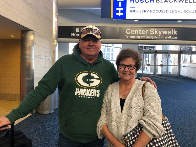 Bob and Cindy Biechler at Mitchell International Airport