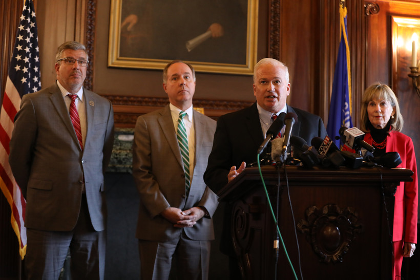 Rep. John Nygren, left, Assembly Speaker Robin Vos, Senate Leader Scott Fitzgerald, and Sen. Alberta Darling, give a press conference