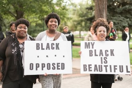 Black women at a march in Washington DC