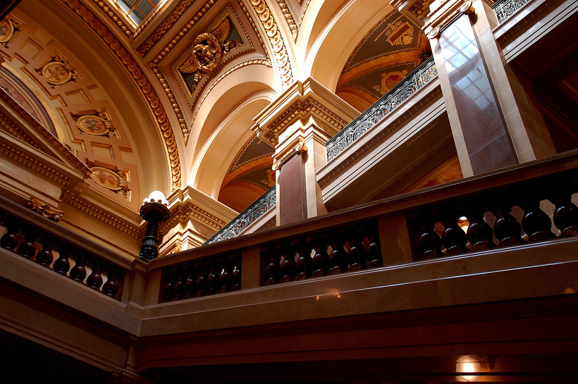 Stairs to the West Gallery in theWisconsin State Capitol