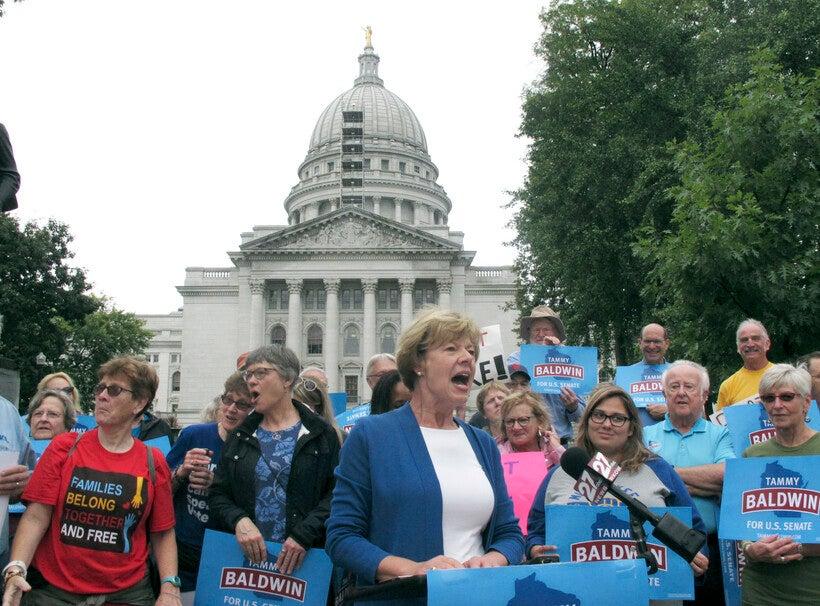 U.S. Sen. Tammy Baldwin speaks to supporters