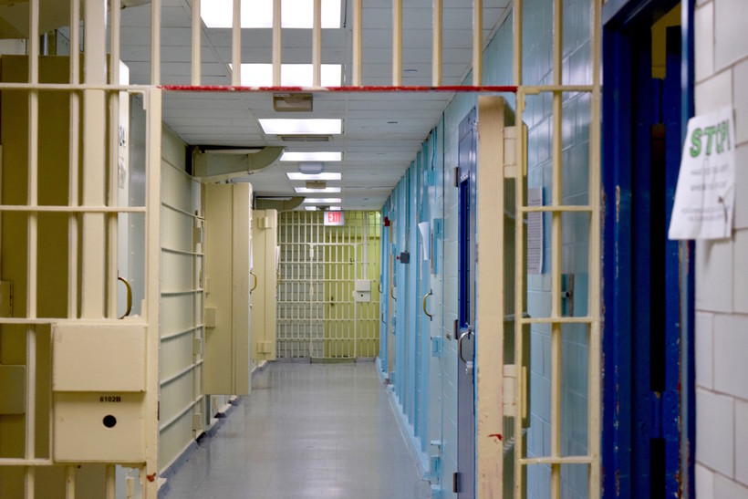 A hallway in the Dane County Jail