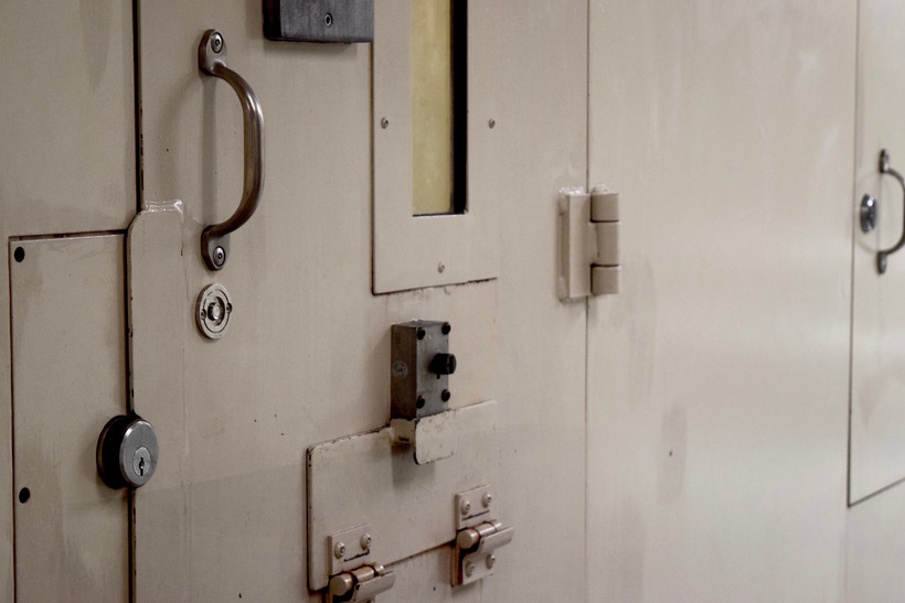 A cell door in the Dane County Jail
