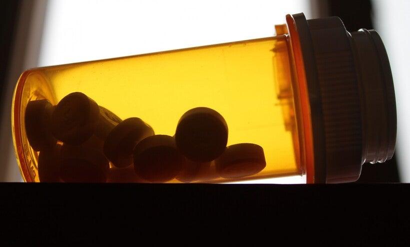 Opioid painkiller bottle