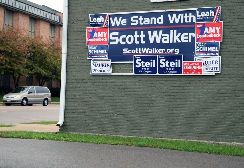 Campaign signs for Republican candidates