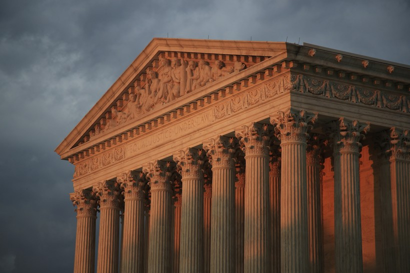 U.S. Supreme Court is seen at sunset