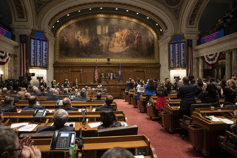 Gov. Tony Evers addresses the Legislature at the State of the State