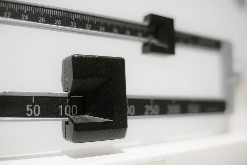 closeup of a beam scale