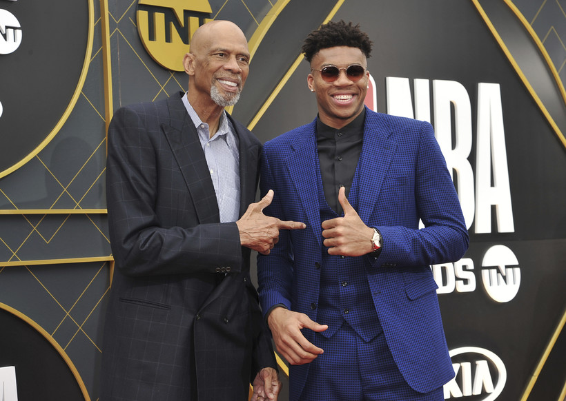 Kareem Abdul-Jabbar and Giannis Antetokounmpo arrive at the NBA Awards