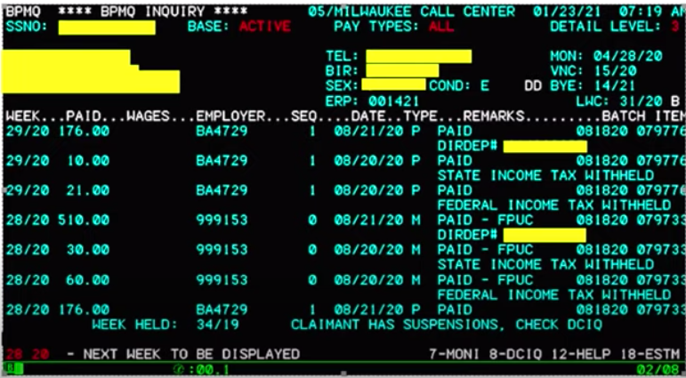 Screenshot of the DWD unemployment system computer software