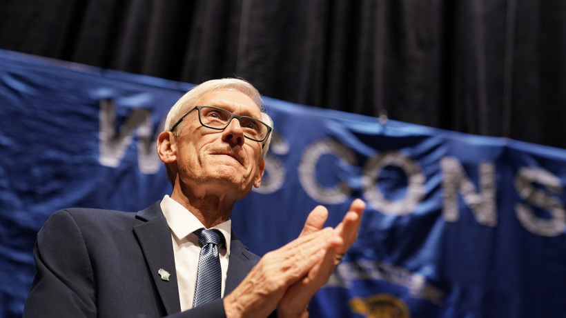 Democratic candidate for governor Tony Evers addresses supporters