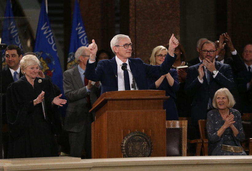Democratic Gov. Tony Evers speaks after being sworn in