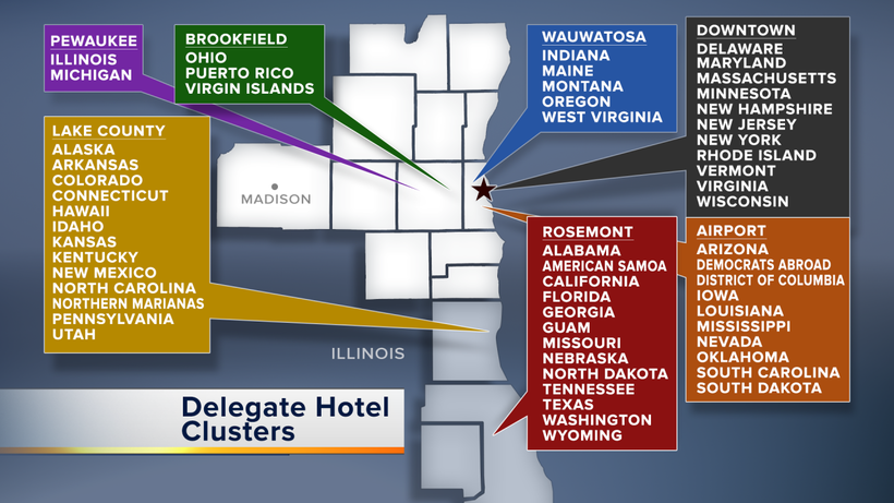 hotel assignments for the 2020 Democratic National Convention