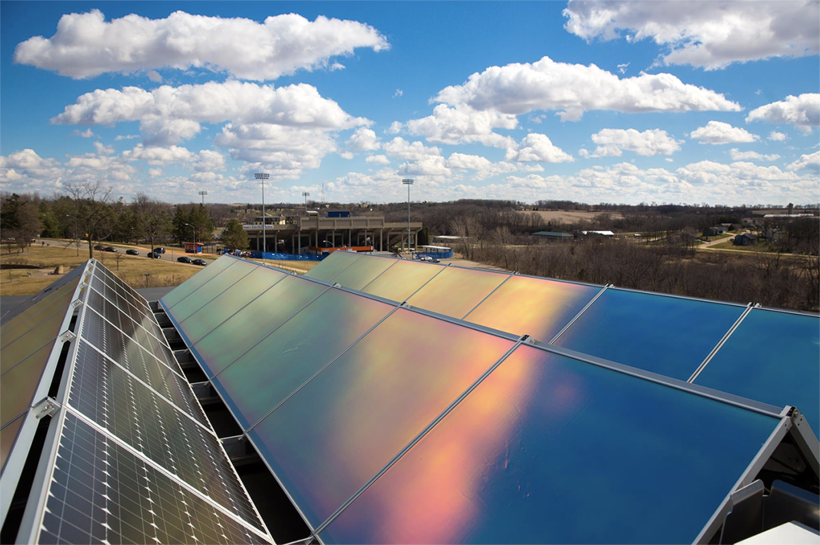 Existing solar panels on the rooftop of a University of Wisconsin-Platteville building