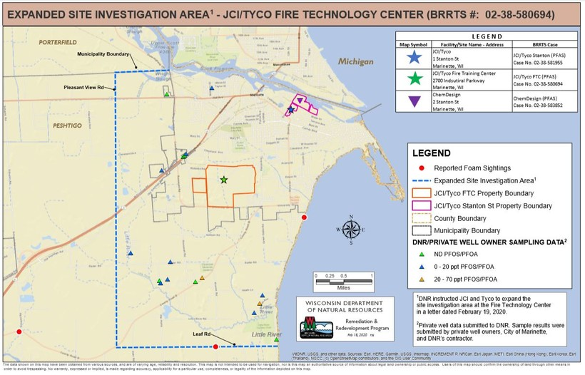 This map shows the larger area of where the DNR wants Tyco to conduct private well sampling.
