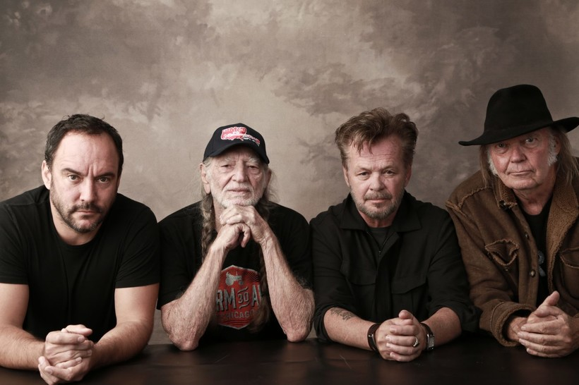 Farm Aid board artists Dave Matthews, Willie Nelson, John Mellencamp and Neil Young