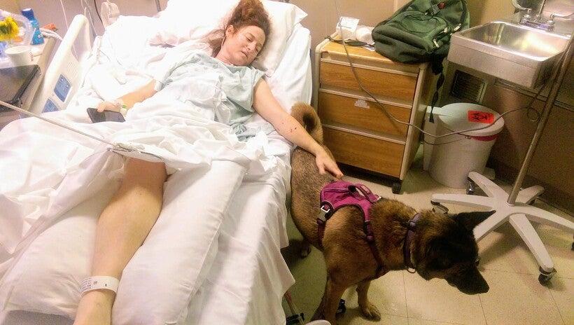 Jennifer Kilburn's dog visited her in the hospital