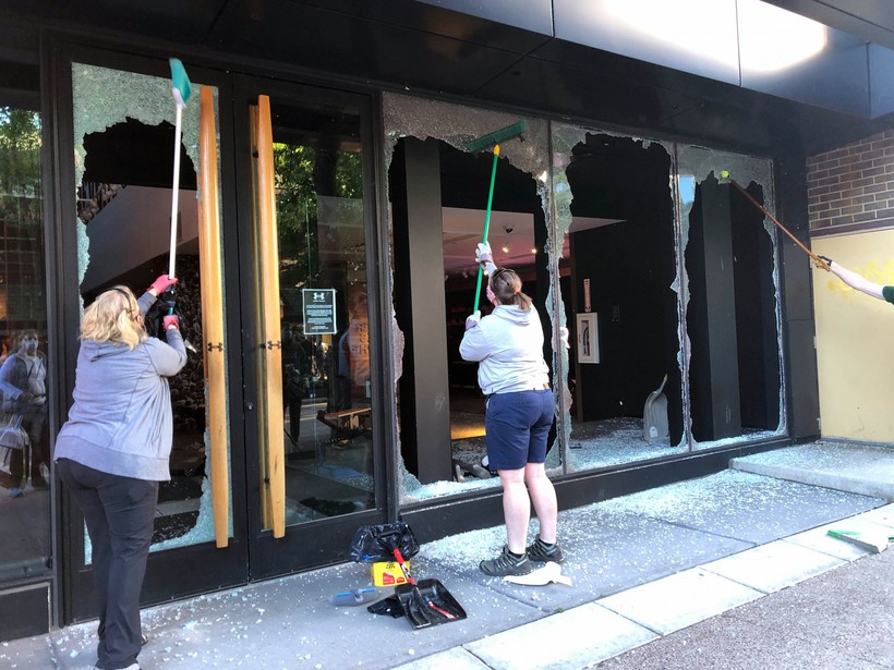 Under Armour was one of several businesses damaged and looted