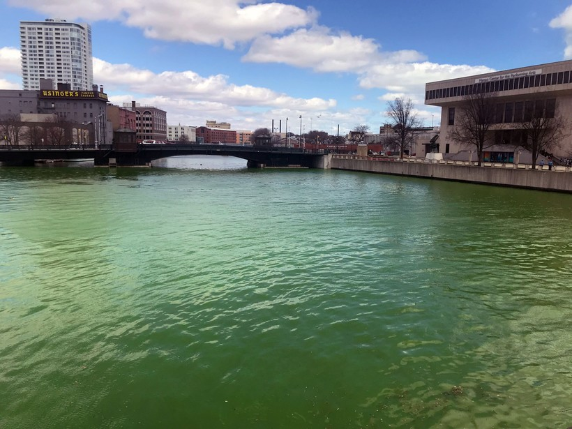 Milwaukee River dyed green