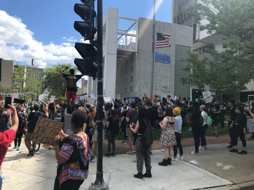 Demonstrators Stop Outside Police Administration Building In Milwaukee