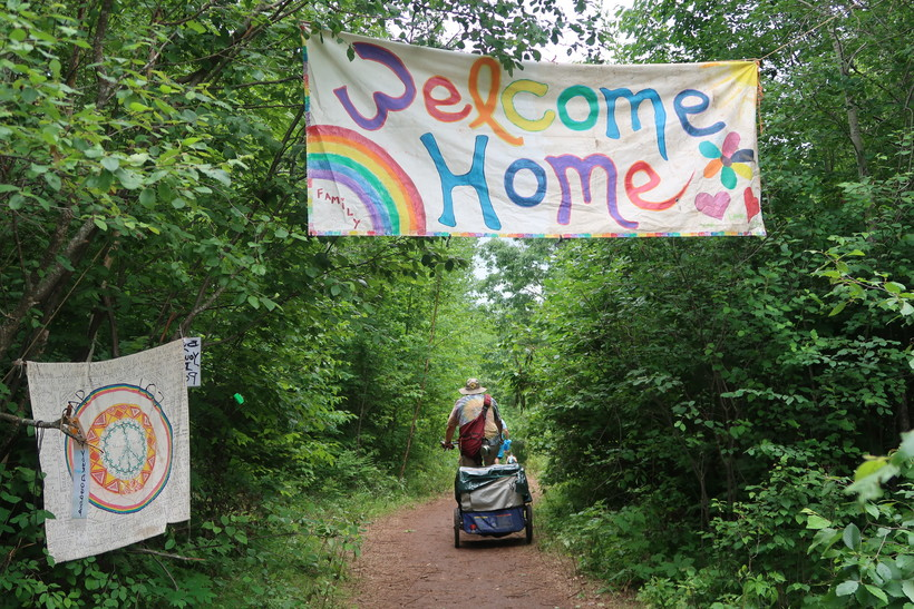 Trail head leading to the Rainbow Family national gathering