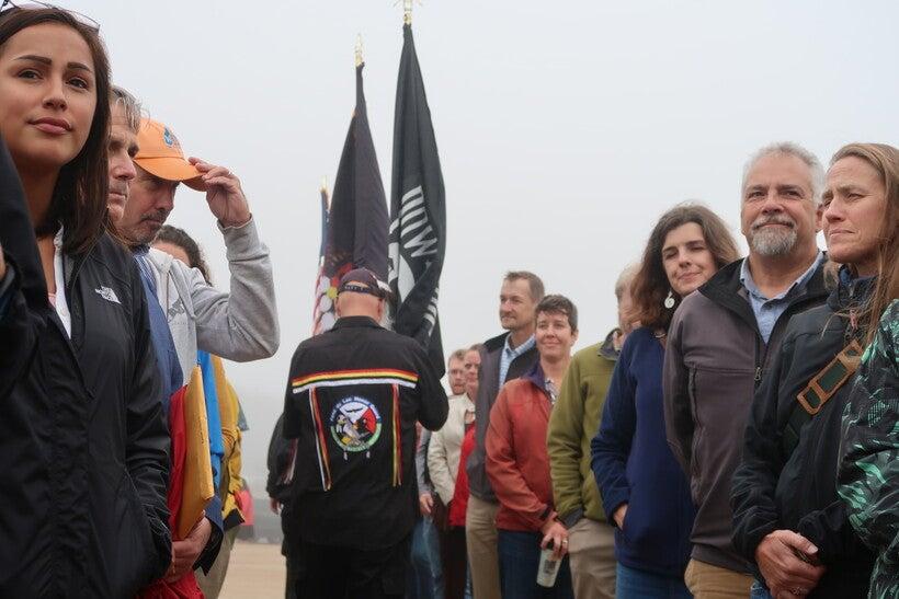 People line Wisconsin Point boardwalk