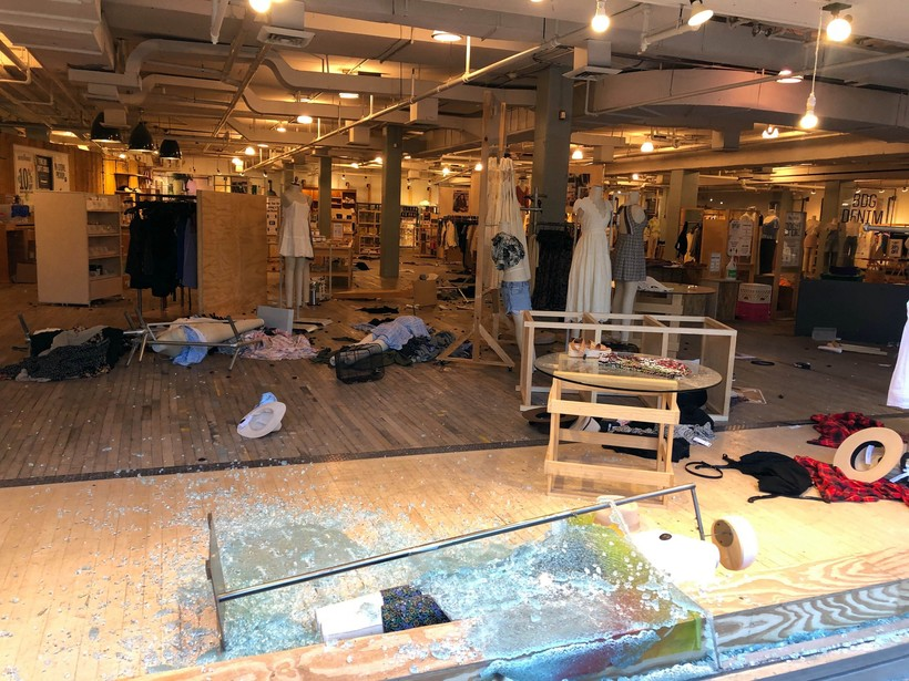 Urban Outfitters was one of several businesses damaged and looted