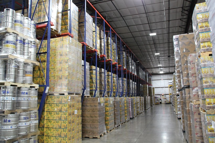 Pallets full of New Glarus beer at Frank Beer Distributors in Middleton, WI