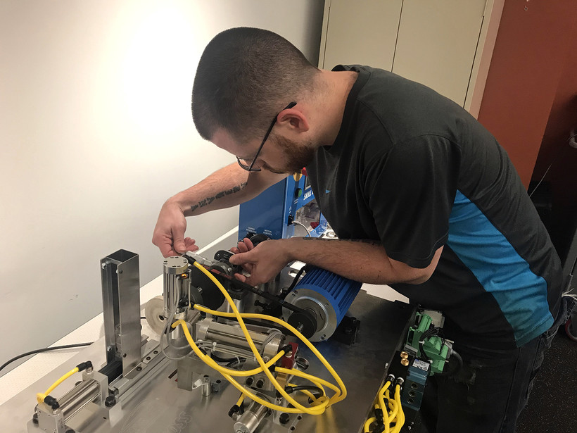 Dan Lubrano works iin his advanced manufacturing class at Gateway Technical College