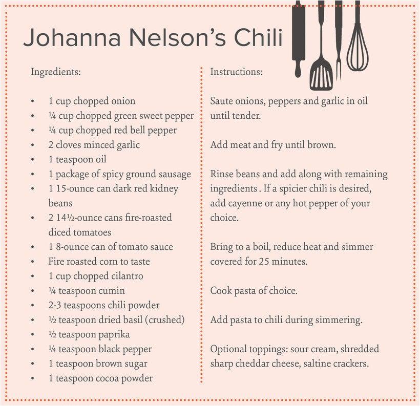 Johanna Nelson's chili recipe