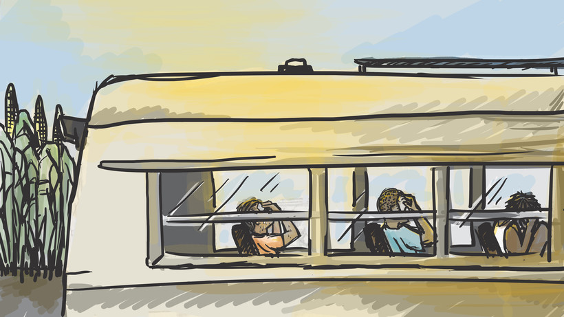 illustration of farm workers ill from heat sitting on the bus