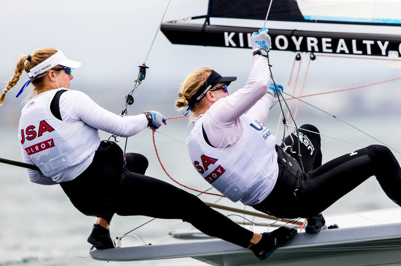 Stephanie Roble and Maggie Shea race on a a 49erFX