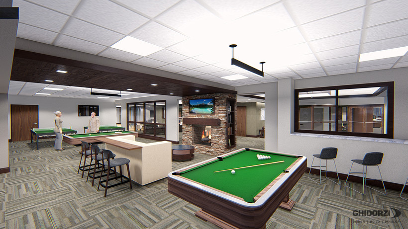 artist rendering of the inside of The Landing's billiard room