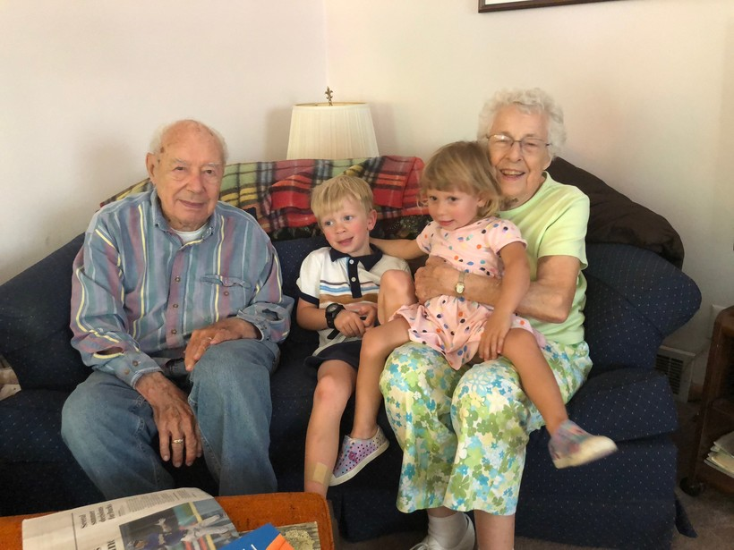 Wilford and Mary Kepler with their great grandchildren
