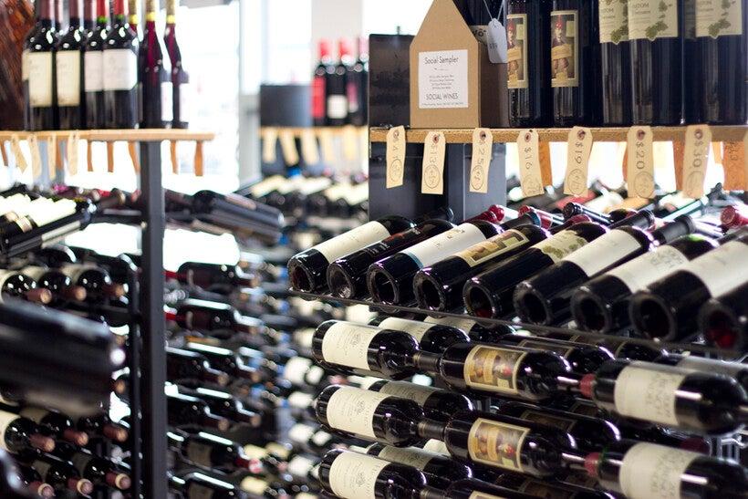 wine racks at a liquor store