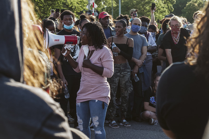 Brandi Grayson, founder and CEO of Urban Triage in Madison, addresses protesters at a Black Lives Matter rally