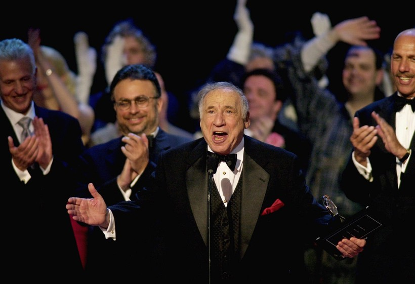 "Mel Brooks, producer of ""The Producers,"" accepts the award for best musical during the 55th annual Tony Awards"
